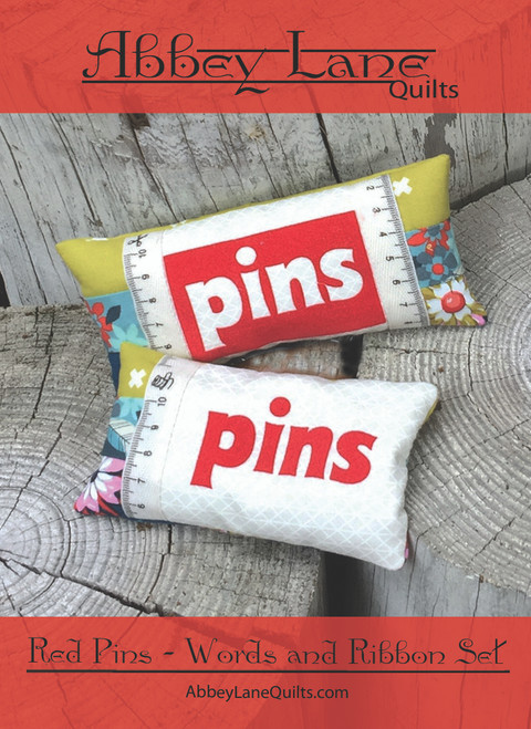 Red Pins - Words and Ribbon Set #228-R