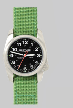 A-1S Stainless Black dial - Jungle Green nylon band