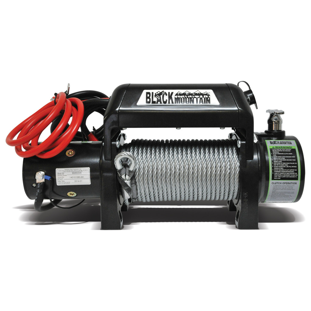8000lb Black Mountain winch is perfect for the serious off road wheeler. Heavy-duty and reliable so you can pull yourself or any other wheeling fanatic out of the rough.