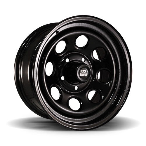 Black Steel Rock Wheel 16x8""