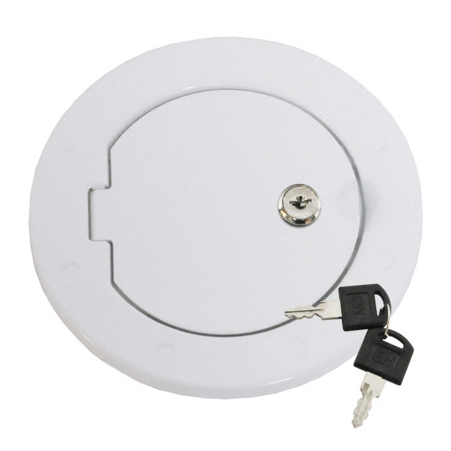 Locking Fuel Door - White