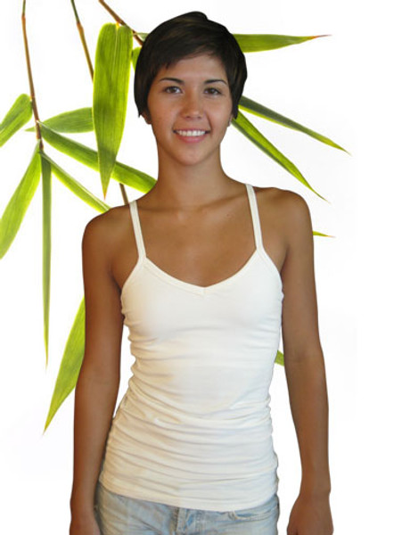 Bamboo and Organic Cotton Cami Top with shelf bra natural