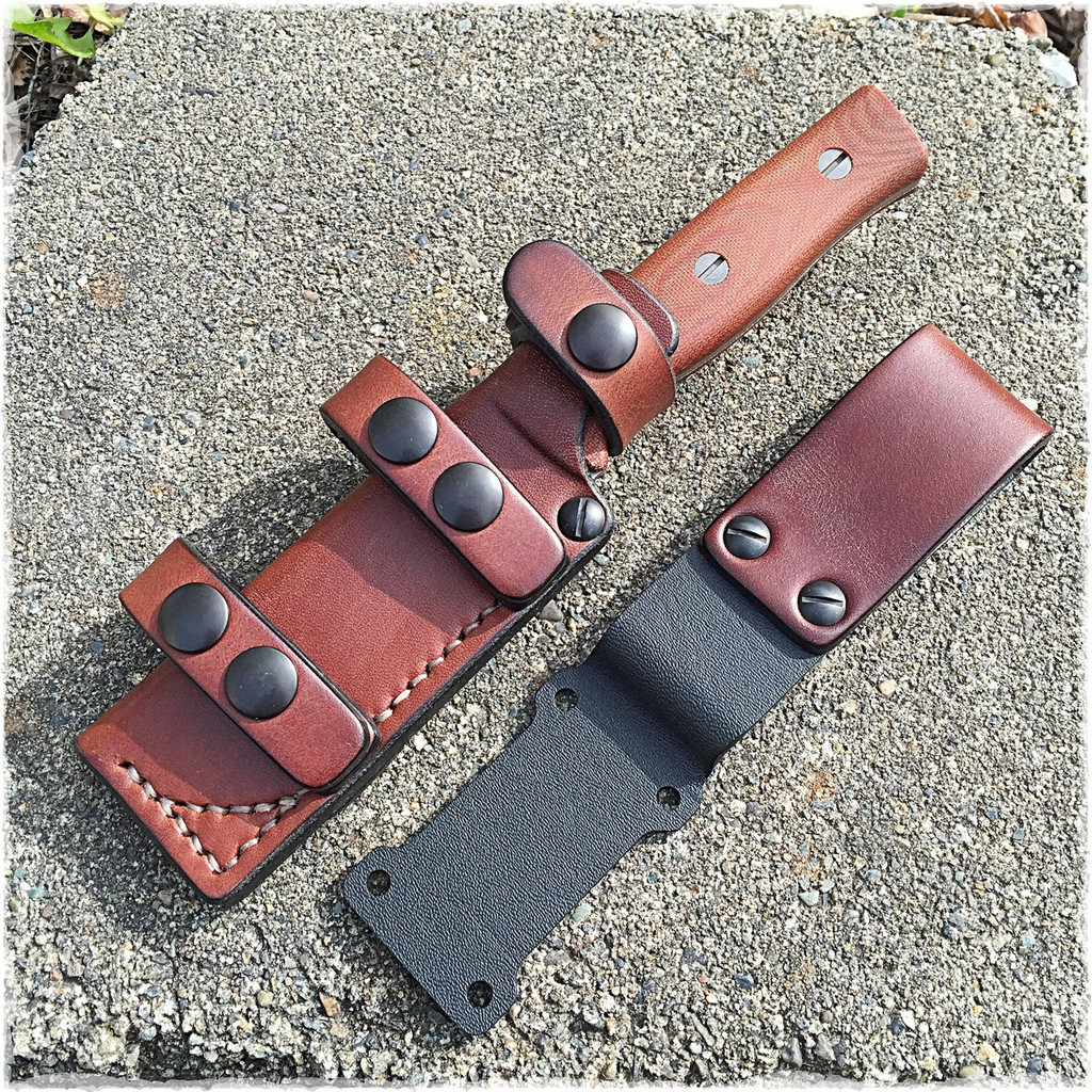 Sagewood Gear PRS Scout leather sheath with vertical belt loop conversion.