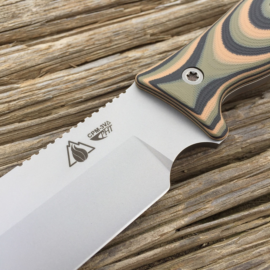 GSO-7/7 in CPM-3V with new delta heat treat and 3 Color Camo G10 handles and tumbled fasteners