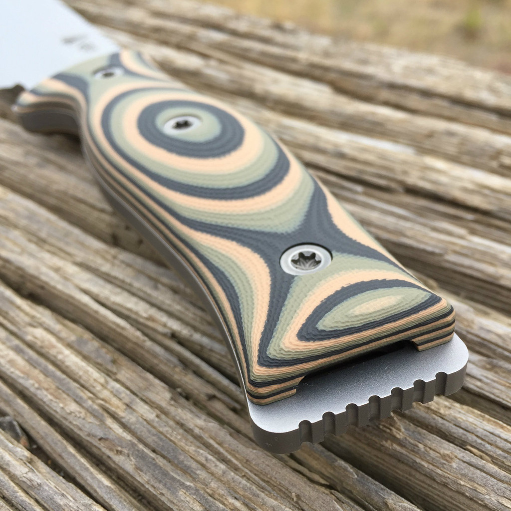Handle and Pommel view of GSO-7/7 with 3 Color Camo G10 handles and tumbled fasteners