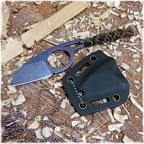 Necker with OD Green Kydex sheath and a custom lanyard (Necker does not come with lanyard)