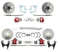 DBK59641012FSR - 1959-1964 Full Size Chevy Complete Front & Rear Disc Brake Conversion Kit w/ Powder Coated Red Calipers