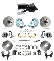 "DBK64721012-GM-411 - 1964-1972 GM A Body Front & Rear Power Disc Brake Conversion Kit Standard Rotors w/ tandem 8"" Dual Powder Coated Black Booster Kit"