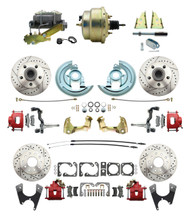"DBK64721012LXR-GM-215 - 1964-1972 GM A Body Front & Rear Power Disc Brake Conversion Kit Drilled & Slotted & Powder Coated Red Calipers Rotors w/ 8""Dual Zinc Booster Kit"