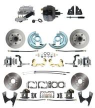 "DBK67691012-GM-735 - 1967-1969 Camaro/ Firebird & 1968-1974 Chevy Nova Front & Rear Power Disc Brake Conversion Kit Standard Rotors w/ 9"" Dual Powder Coated Black Booster Kit"