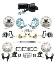 "DBK67691012LX-GM-415 - 1967-1969 Camaro/ Firebird & 1968-1974 Chevy Nova Front & Rear Power Disc Brake Conversion Kit Drilled & Slotted Rotors w/ 8""Dual Zinc Booster Kit w/ tandem 8"" Dual Powder Coated Black Booster Kit"