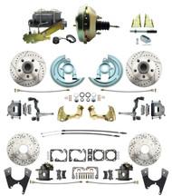 "DBK67691012LX-GM-217 - 1967-1969 Camaro/ Firebird & 1968-1974 Chevy Nova Front & Rear Power Disc Brake Conversion Kit Drilled & Slotted Rotors w/ w/ 9"" Dual Zinc Booster Kit"