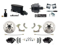 DBK5868LXWB-WIL-31 - 1958-68 Fullsize Chevy Front Wilwood Power Disc Brake Kit, Black Wilwood Calipers & Wilwood Master Cylinder
