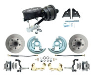 "DBK6472-WIL-702- 1964-1972 GM, A, F, X Disc Brake Conversion Kit w/ 8"" Dual Powder Coated Black Wilwood Booster Conversion Kit w/ Set Valve"