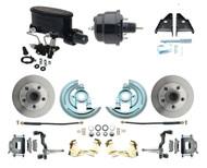 "DBK6472-WIL-706- 1964-1972 GM, A, F, X Disc Brake Conversion Kit  & 8"" Dual Powder Coated Black Wilwood Booster Conversion Kit w/ Adjustable Valve"