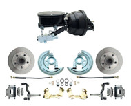 "DBK6472-GM-401 GM A, F, X BODY Disc Brake Conversion kit (Chevelle, Camaro, Nova) tandem Booster Conversion Kit Powder Coated Black Out 8"" Dual Series"
