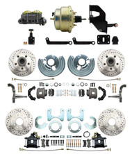 "DBK6272834LX-MP-208 1962-2 Mopar B & E Body Front & Rear Disc Brake Conversion Kit w/ Drilled & Slotted Rotors ( Charger, Challenger, Coronet) w/ 8"" Dual Zinc Booster Conversion Kit w/ Adjustable Valve"
