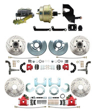 """DBK6272834LXR-MP-207 1962-72 Mopar B & E Body Front & Rear Disc Brake Conversion Kit w/ Drilled & Slotted Rotors & Powder Coated Red Calipers ( Charger, Challenger, Coronet) w/ 8"""" Dual Zinc Booster Conversion Kit w/ Left Mount valve Kit"""