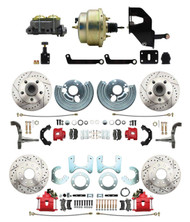 "DBK6272834LXR-MP-208 1962-72 Mopar B&E Body  Front & Rear Disc Brake Conversion Kit w/ Drilled & Slotted Rotors & Powder Coated Red Calipers ( Charger, Challenger, Coronet) w/ 8"" Dual Zinc Booster Conversion Kit w/ Adjustable Valve"