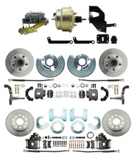 "DBK6272834-MP-207 1962-72 Mopar B E Body Front & Rear Disc Brake Conversion Kit w/ Standard Rotors ( Charger, Challenger, Coronet) w/ 8"" Dual Zinc Booster Conversion Kit w/ Left Mount proportioning valve Kit"