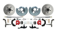 DBK6272A-40-R - 1962-1972 Mopar A Body Small Bolt Pattern Standard Disc Brake Conversion Kit w/ Powder Coated Red Calipers