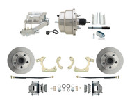 "DBK5558-GMFS1-309 1955-1958 Chevy Impala, Bel-Air Biscayne  8"" Dual Chrome Power Disc Brake Conversion Kit Plain Rotors"