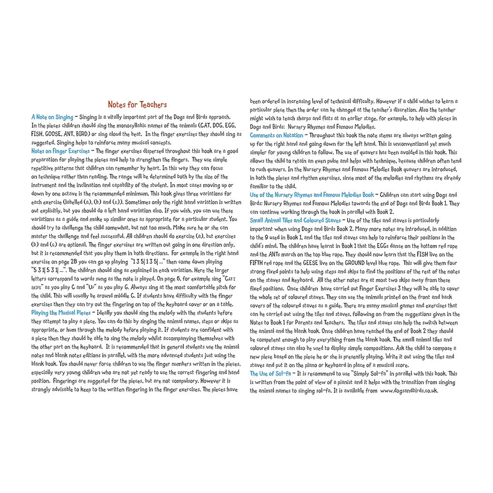 Dogs and Birds - Book 2 (Both Editions) Notes for Teachers