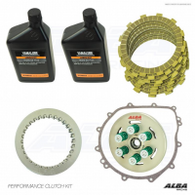 This clutch kit will hold 400+hp and engage smoother than stock. Perfect for completely stock to fully built Yamaha YXZ 1000's. Don't wait for your factory clutch to burn up and leave you stranded. Our clutch works so good Factory Yamaha send engineers to our shop and took a few kits home with them to Japan.  Features: -Recommended for stock to completely built turbo engines. -Rated to over 400 horsepower. -Stock like driveability. -Converts from stock single spring to 6 spring. -Smoother engagement than stock. -Creates less heat than the factory clutch allowing it to take much more abuse. -2 spring options (under 200hp and 200+hp) 200+hp = more spring pressure.  Includes: -New 6 spring pressure plate assembly. -New Fiber plates. -New Steel plates.  -Oil and OEM clutch cover gasket.