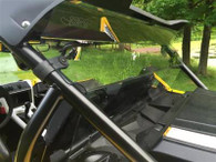 """Fits: 2016 YXZ 1000 EMP® offers a Half Windshield P/N: 13189 and a Full Windshield P/N: 13190 in addition to the this rear panel.  Made from 3/16"""" Polycarbonate. Attaches with EMP Rubber Fast Straps. LOGO Etched into the shield. Tool-Less Removal. Works with Factory Harness bar. Made In Cleveland Ohio (Not China). Protect the driver and passenger from wind, rain, and dust with this Polycarbonate rear panel. Polycarbonate is virtually unbreakable under normal use unlike other cheaper acrylics on the market. It attaches with EMP®'s Rubber fast straps allowing it to be removed in seconds without any tools.  We reserve the right to make modifications/improvements to our products at any time. Vehicles may have changes throughout the year. Therefore, pictures are a representation of the product you will be getting but may vary due to product revisions."""
