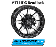 The new STI HD5 Beadlock wheels are designed to deliver the ultimate combination of strength and style. In new Machined & Gloss Black, and Matte Black finishes, the HD5 Beadlocks are available in three sizes - 14x7, 14x9, and 15x7 - for today's high-performance heavyweight UTVs. The wheels feature a reinforced inner bead lip for durability, and the beadlock hardware is beefed up for increased tire-clamping pressure.  To deliver a customized look, you can choose from a wide selection of colored beadlock rings. There is one to match your vehicle, from RZR orange to Can-Am yellow to Kawasaki green. And a raw ring option lets you finish the ring in any color you need. These are the same durable and easy-to-install rings that come stock with the new HD5 Beadlock wheel. Add the optional full-coverage center cap in matching colors or in black for an even more unique look. And, yes, you can mix any color ring with the optional colored or black full-coverage center cap.