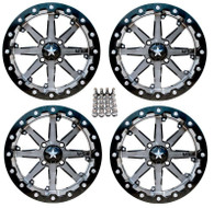 MSA M21 14x7 4+3 offset - Charcoal Bead lock set of 4 Lug nuts included