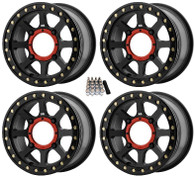 BLACK KMC ADDICT 2 BEADLOCK UTV WHEELS/RIMS 14x7 5+2