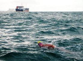Paul Hopfensperger in The English Channel, July 10, 2007 - England to France, 13 Hrs. 52 Minutes