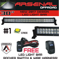 "No.1 30"" Arsenal Offroad LED Light Bar New 2017 Design Flood/Spot Combo Beam CREE 3w LED's 168w 18,000 Lumen Design for Xtreme Offroading, FREE LED Light Rocker Switch Kit Harness"