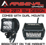 """2017 2x 4""""18W CREE LED Super Spot Work Lights by Arsenal OffroadTM for UTV SUV Off-Road Boats Jeeps RZR Driving Fog Light Rock and Bumper Light Comes with Dual Mounting Brackets"""