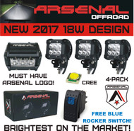 "New 2017 Design 4x 4"" ARSENAL OFFROAD INC TM 18W 6 CREE LED Brightest on the Market! SUV Off-road Trucks Boats Jeep RZR Tractor Headlight Spot Driving Fog Light + DUAL Mounting Brackets FREE LASER BLUE ROCKER SWITCH WITH PURCHASE!"