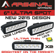 New #1 2017 Design Industries Brightest 2x 18w 6 MEGA WATT LED's Super Spot Work Light SUV Off-road Boat Jeep RZR Trackors Headlight Spot Driving Fog Light DRL Rock Light (2 Pack)