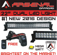 "#1 2017 22"" Arsenal Offroad MEGA WATT LED Light Bar 20"" of LED's 120w 9000 Lumen, Off Road, Polaris RZR, UTV, Raptor, Jeep, Bumper Rock, FREE LED Rocker Switch Wire Harness"