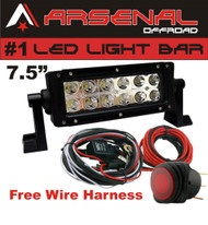 "No.1 7.5"" 36W Arsenal Offroad LED Light Bar 6"" of LED's Super Spot Beam-3w LED's 36w 2,500 Lumen, Off Road, Polaris RZR, UTV, Trucks, Raptor, Jeep, Bumper Rock, FREE ROCKER SWITCH WIRE HARNESS"