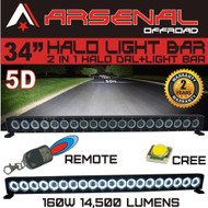 "34"" 5D HALO LED Light Bar by Arsenal Offroad HALO DRL / Super Spot-CREE 10W LED's 160w 14,500 Lumen, Off Road, Polaris RZR UTV Trucks Raptor Jeep Bumper Rock FREE Wireless Remote Control Wire Harness"