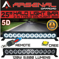 "25"" 5D HALO LED Light Bar by Arsenal Offroad HALO DRL / Super Spot-CREE 10W LED's 180w 9,600 Lumen, Off Road, Polaris RZR UTV Trucks Raptor Jeep Bumper Rock FREE Wireless Remote Control Wire Harness"