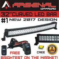 "#1 32"" Curved Arsenal Offroad LED Light Bar 30"" of LED's Flood/Spot Combo Beam-CREE 3w LED's 180w 18,000LM Off Road Polaris RZR UTV Trucks Raptor Jeep Bumper Rock Free LED Light Bar Switch and wire harness"