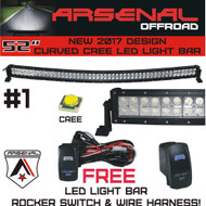NO.1 52 inch Curved 2017 Design 300W CREE LED Light Bar by Arsenal Offroad TM spot flood combo beam Lumens 30,000LM