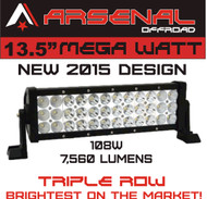 "MEGA WATT TRI-ROW 13.5"" Arsenal Offroad LED Light Bar 12"" of LED's Flood/Spot Combo Beam-3w LED's 108w 7560 Lumen, Off Road, Polaris RZR, UTV, Trucks, Raptor, Jeep, Bumper Rock, FREE Wire Harness"