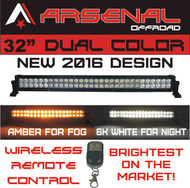 "#1 32"" Dual Color Amber/White Wireless Remote Control LED light bar by Arsenal Offroad MEGA WATT Dual Color LED's 180w 18,000 Lumen"