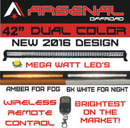 "#1 42"" Dual Color Amber/White Wireless Remote Control LED light bar by Arsenal Offroad Dual Color LED's 240w"