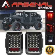 Jeep Wrangler LED Tail Lights 2017 Design Clear Lens LED Tail Lights with Red LED Brake Tail Lights Assembly with Rear Turn Signal Reverse Lights For JK JKU 2007-2016