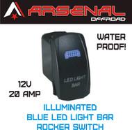 Laser Blue LED Light Bar Rocker Switch by Arsenal Offroad 20 Amp Illuminated Laser Blue LED's SPST, 4X4 Jeep Polaris RZR Rapator Trucks RV UTV Powersports