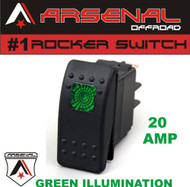Arsenal Offroad 20 Amp Green Light Rocker Switch Kit 4X4 Jeep Polaris RZR Rapator Trucks RV UTV Powersports