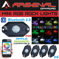 #1 RGB LED Rock Lights by Arsenal Offroad, CREE XTE-3535 LED's Bluetooth 4.0 16 Million Colors for Interior or Exterior Strobe Flashing IP68 Water & Shock Proof Neon Replacement (4 Pack)